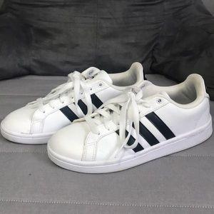 White adidas cloud foam sneakers